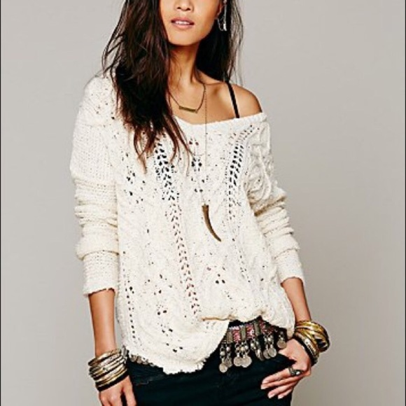 bb8a7829ea195 Free People Sweaters - Free People Cross My Heart Cable Knit Sweater
